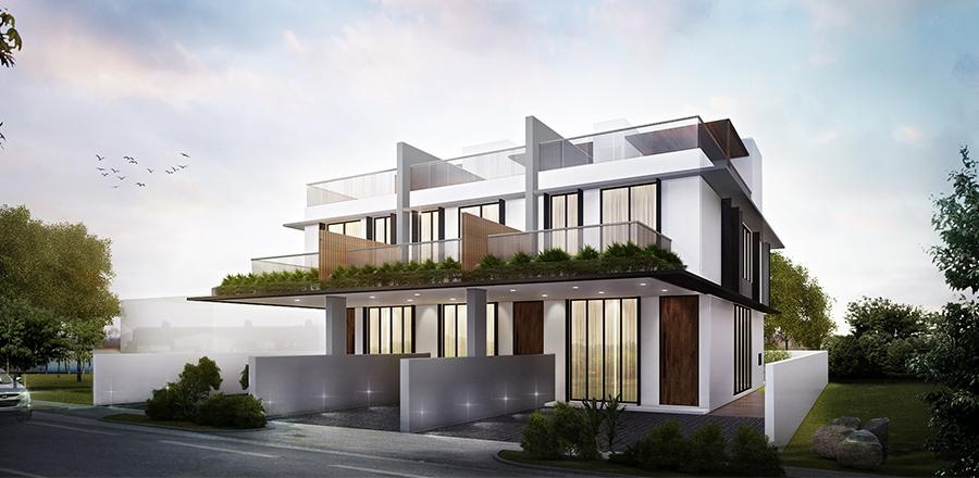 Three Landed Terrace Houses at 55/55A/55B Jalan Angin Laut